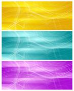Bright banners with abstract chaotic wavy lines Stock Illustration