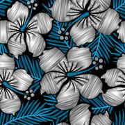Hibiscus tropical floral embroidery seamless pattern Stock Illustration