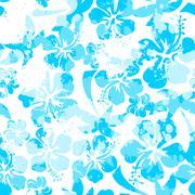 Stock Illustration of Light blue paint effect hibiscus seamless pattern