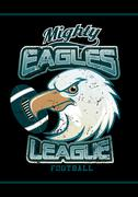 Mighty Eagles League football team on black background - stock illustration
