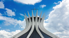 Timelapse View of the Cathedral of Brasilia, Brazil - Zoom Out Stock Footage