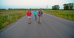 Longboarding with Friends Stock Footage