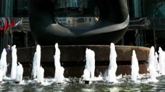 Fountain in front of Hong Kong Stock Exchange (HKEx) building, sunny day. Stock Footage