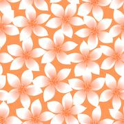 Stock Illustration of Orange tropical Plumeria and Hibiscus floral seamless pattern