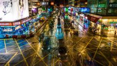 Night Traffic on Crossroad in Hong Kong. View from above. Time-lapse - stock footage