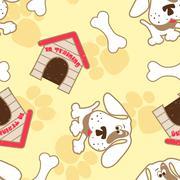 Puppy dog with bone seamless pattern - stock illustration