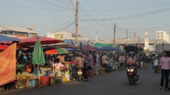 Vegetable market with street,Surin,Thailand Stock Footage