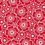 Stock Illustration of Red and white graphic hibiscus floral seamless pattern