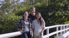 Multiethnic Teens Smile For Portrait On Bridge Stock Footage
