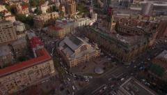 Flying above Kyiv city center near historic Bessarabka market Stock Footage