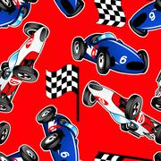 Red, white and blue racing cars seamless pattern Stock Illustration