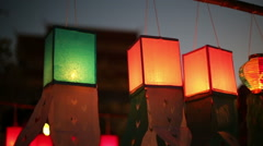 Paper lanterns in Yee-peng festival ,ChiangMai Thailand - stock footage