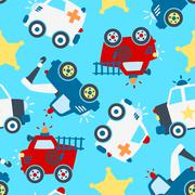 Rescue vehicles seamless pattern. - stock illustration