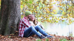 Young couple dating in forest - stock footage
