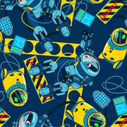 Stock Illustration of Robot area with navy background seamless pattern