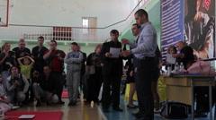 Shinkyokushinkai Karate Championship: President of federation awards winners Stock Footage