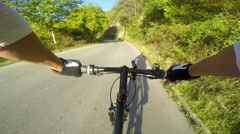 POV Biking on asphalt road Stock Footage