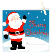Santa Claus Merry Christmas card with peg Stock Illustration