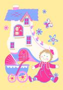 Shoe house with doll and butterfly. Stock Illustration