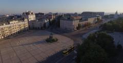 Symbol of Kiev - Monument to Cossack's commander Bogdan Khmelnitsky . Aerial - stock footage