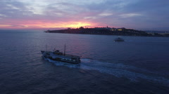 Istanbul Silhouette and Boat Trip drone shot Stock Footage