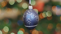 Christmas blue ball shakes at background bokeh Stock Footage