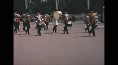 Vintage 16mm film, 1965, London, changing of the guard at Buckingham Castle Stock Footage