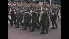 Vintage 16mm film, 1965, London, changing of the guard at Buckingham Castle #2 - stock footage