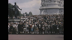 Vintage 16mm film, 1965, London, changing of the guard at Buckingham Castle #3 - stock footage