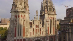 St. Nicholas Roman Catholic Cathedral in gothic style. Aerial filming - stock footage