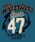 Sports Warriors Football league distressed print - stock illustration