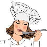 Sexy chef woman in uniform taste the food Stock Illustration
