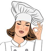 Stock Illustration of Sexy chef woman in uniform  gesturing ok sign with her hand