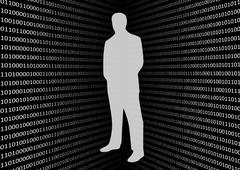 Stock Illustration of 3D binary code screen with anonymous hacker on black background
