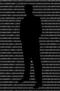 Anonymous hacker without face and black binary code background Stock Illustration