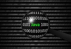 Binary code with ... and magnifying lens on black background - programming co Stock Illustration