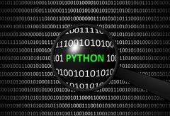 Binary code with PYTHON and magnifying lens on black background - programming - stock illustration