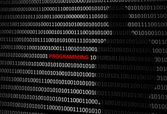 Anonymous hacker without face programming personal computer - binary code bac - stock illustration