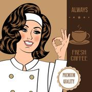 Coffee advertising banner with a beautiful lady Piirros