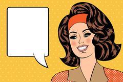 Stock Illustration of Pop Art illustration of girl with the speech bubble. Pop Art girl.