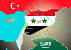 Syria geopolitical map with proposed oil pipeline - stock illustration
