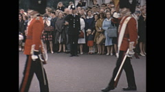 Vintage 16mm film, 1965, London, changing of the guard at Buckingham Castle #4 Stock Footage