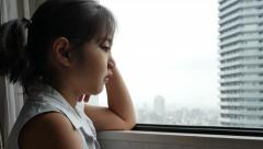 Stock Video Footage of Sadness Asian Girl, Depressed Youth, Feelings, Tilt up shot