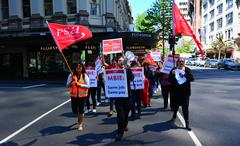 Workers protesting for Equal pay for equal work in Auckland New Zealand Stock Photos