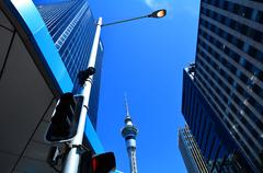 Sky Tower in Auckland New Zealand Stock Photos