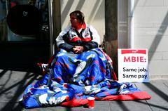 Stock Photo of Homeless begging for money in Auckland New Zealand
