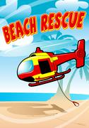 Tropical beach rescue helicopter - stock illustration