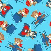 Transport teddy bear seamless pattern - stock illustration