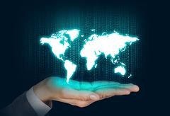 Human open hand with world map - stock photo