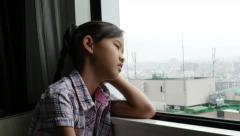 Sadness Asian Girl, Depressed Youth, Feelings, Pan shot - stock footage